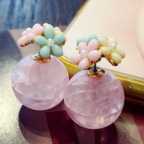 Pair of Charming Floral Faux Crystal Earrings For Women - LIGHT PINK