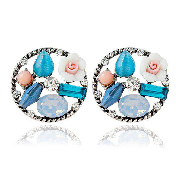 Pair of Faux Gem Rhinestone Round Stud Earrings - COLORMIX