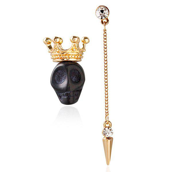 Pair of Elegant Faux Zircon Skull Crown Tassel Stud Earrings For Women