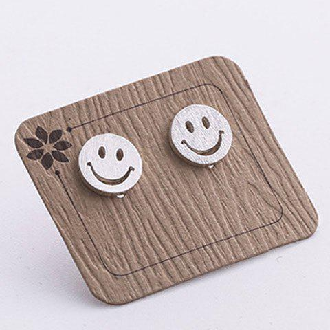 Pair of Smile Face Earrings - SILVER
