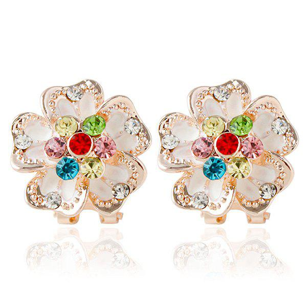 Pair of Rhinestone Embellished Floral Stud Earrings - COLORMIX