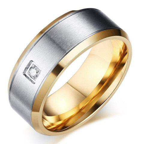 One Piece Simple Golden Fashion Alloy Rhinestone Men's Ring - SILVER