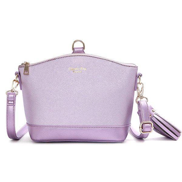 Elegant Color Block and Tassel Design Women's Crossbody Bag - LIGHT PURPLE