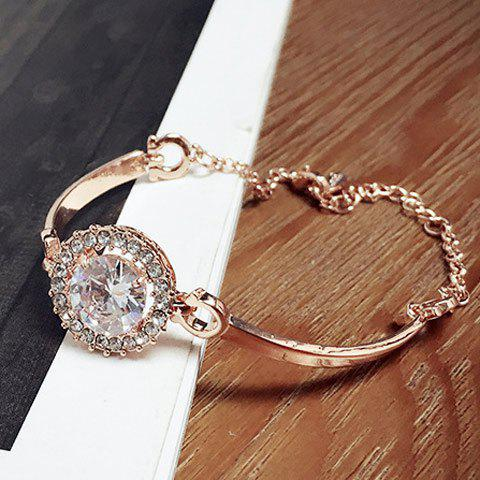 Stunning Alloy Faux Crystal Rhinestone Bracelet For Women - GOLDEN