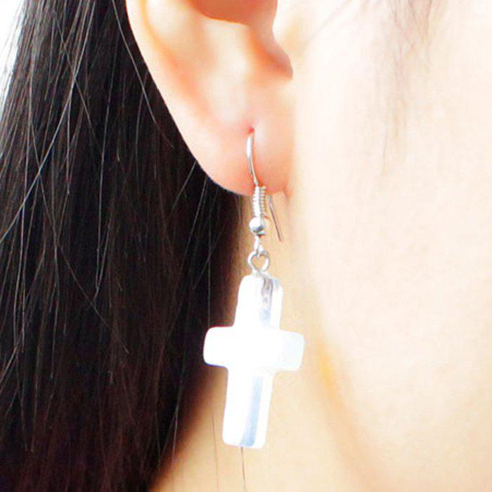 Pair of Translucent Cross Drop Earrings - TRANSPARENT