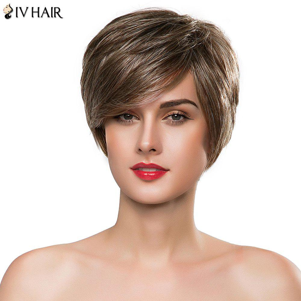 Elegant Side Bang Siv Hair Short Layered Capless Women's Real Human Hair Wig - DARKEST BROWN/GRAY