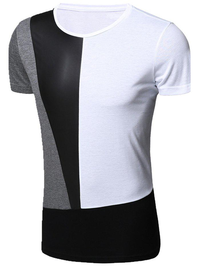 Stylish Round Neck PU-Leather Spliced Short Sleeve Men's T-Shirt - WHITE XL