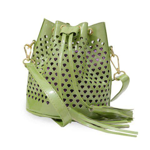 Casual Hollow Out and Tassel Design Women's Crossbody Bag - GREEN