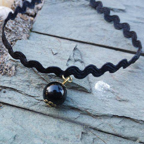 Chic Bead Pendant Choker Necklace For Women - BLACK