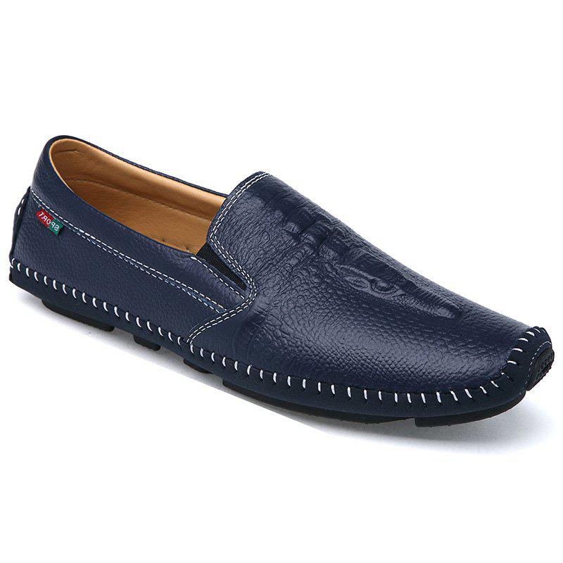 Stylish Stitching and Embossing Design Men's Casual Shoes - DEEP BLUE 40