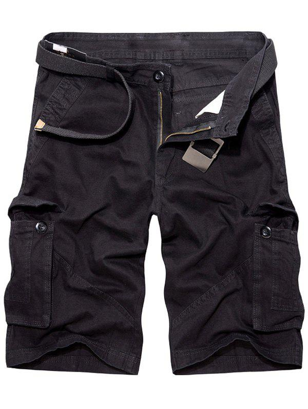 Casual Loose Fit Multi-Pockets Solid Color Cargo Shorts For Men - BLACK 29