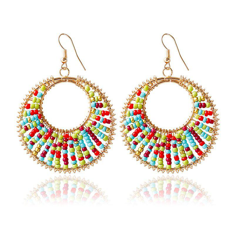 Pair of Elegant Colorful Bead Round Earrings For Women