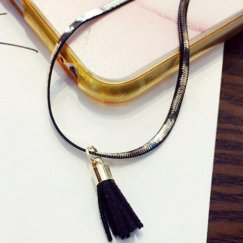 Chic Colored Tassel Choker Necklace For Women - BLACK