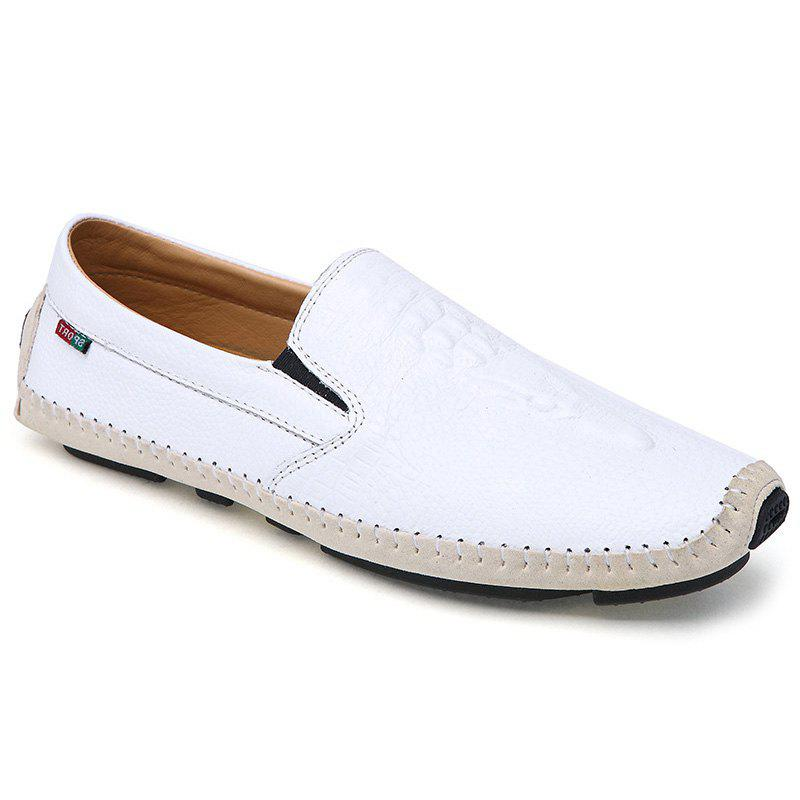 Trendy Embossing and Splicing Design Men's Casual Shoes - WHITE 40