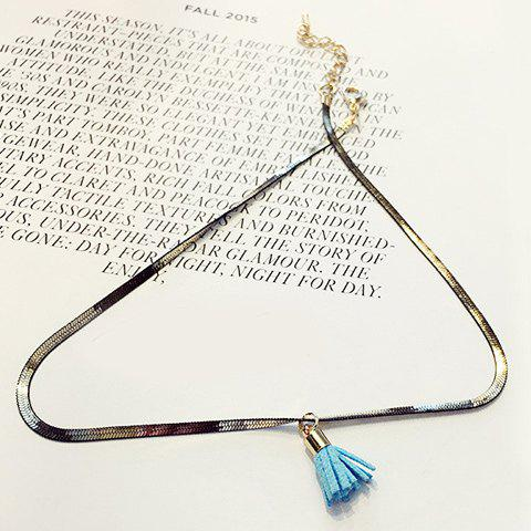 Chic Colored Tassel Choker Necklace For Women - BLUE