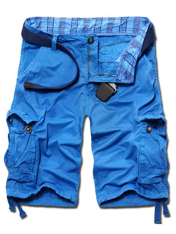 Casual Solid Color Loose Fit Cargo Shorts For Men - AZURE 36