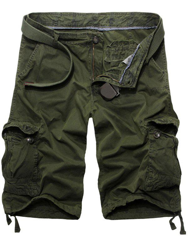 Casual Solid Color Loose Fit Cargo Shorts For Men - ARMY GREEN 34
