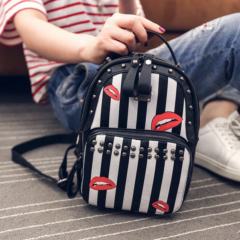 Trendy Striped and Print Design Women's Satchel - BLACK