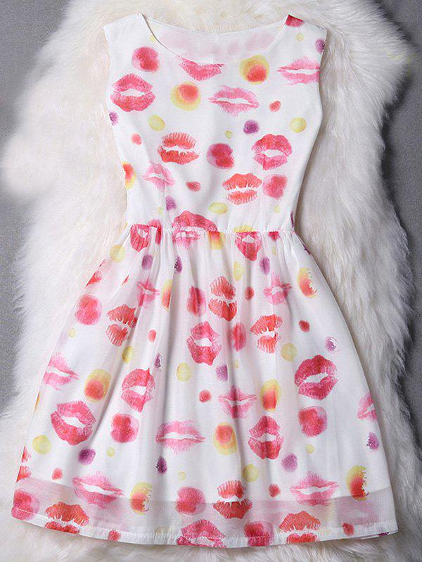 Cut Jewel Collar Sleeveless Lips Pattern Dress For Women - WHITE S