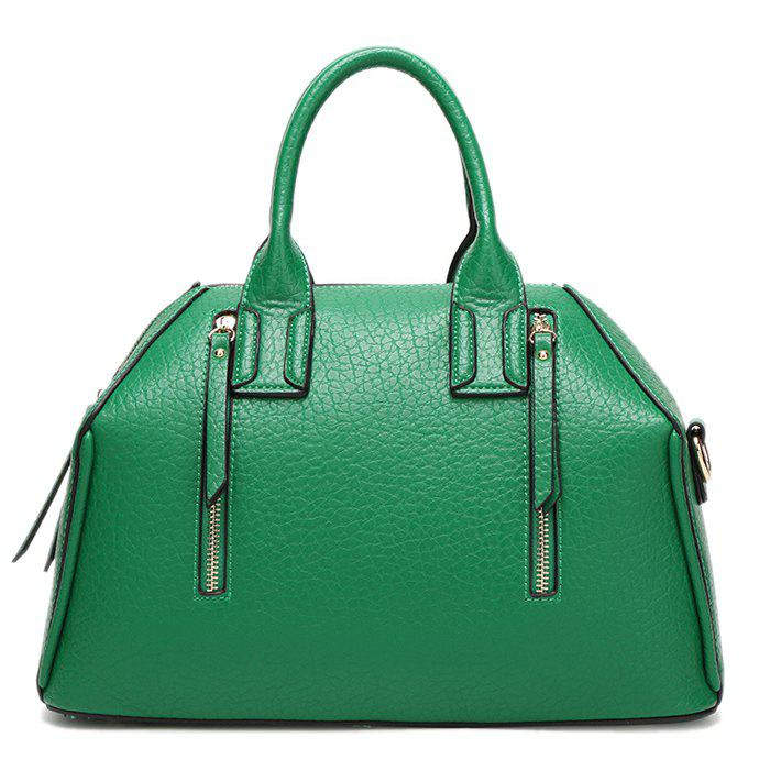 Retro Zippers and Solid Color Design Women's Tote Bag - GREEN