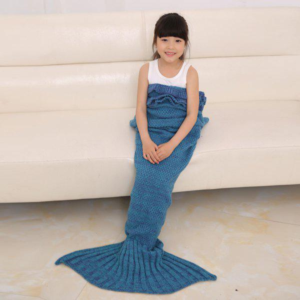 Flouncing Sleeping Bag Knitting Mermaid Blanket For Kids - TURQUOISE