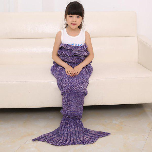 2016 Chic écaille de poisson Tail Shape Flouncing Sac de couchage Mermaid design Knitting Blanket For Kids - Pourpre