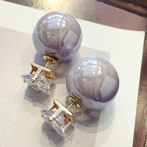 Pair of Charming Faux Pearl Square Earrings For Women