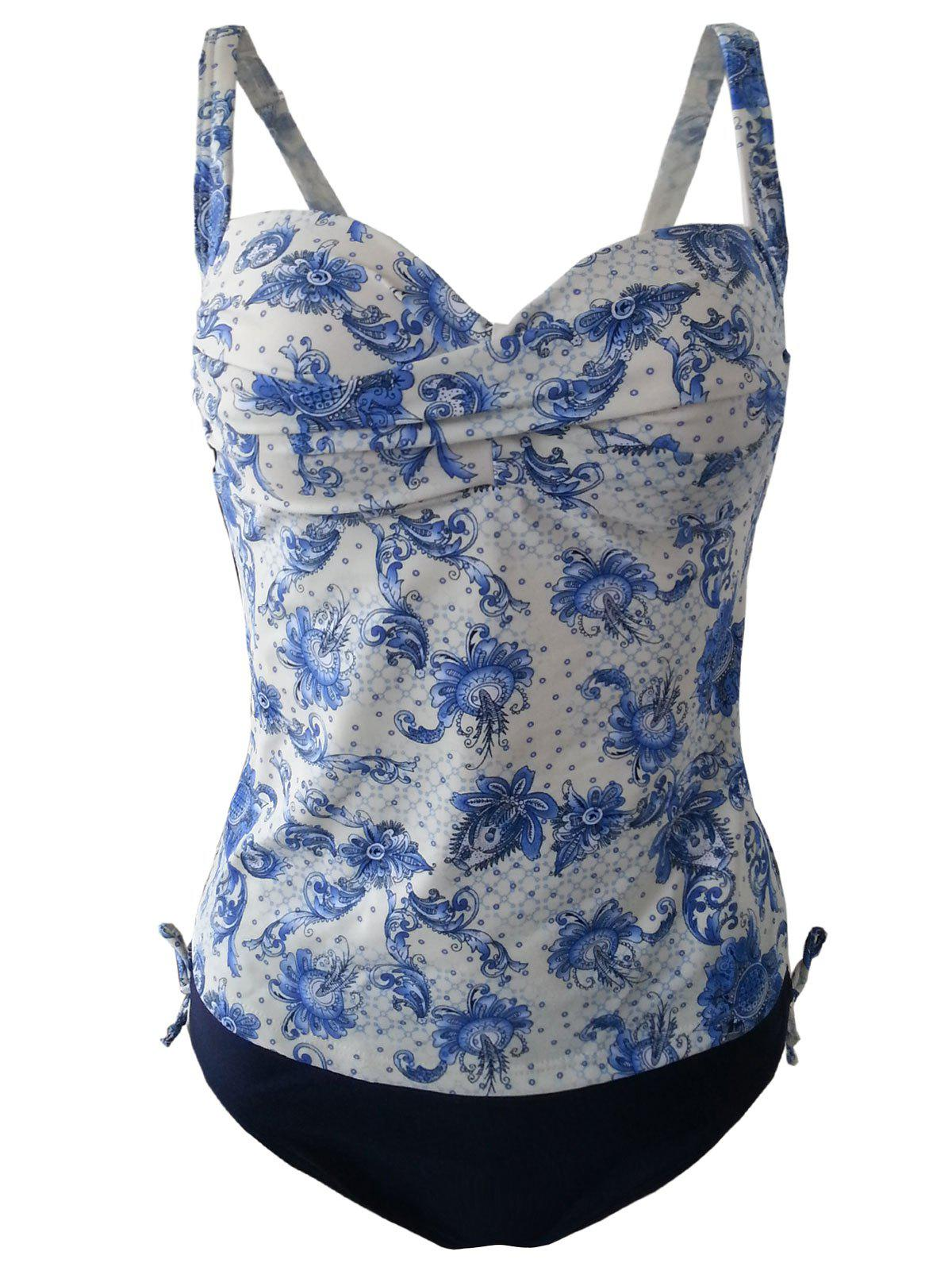 Chic Plus Size Vintage Floral Print Spaghetti Strap Women's Two Piece Swimsuit