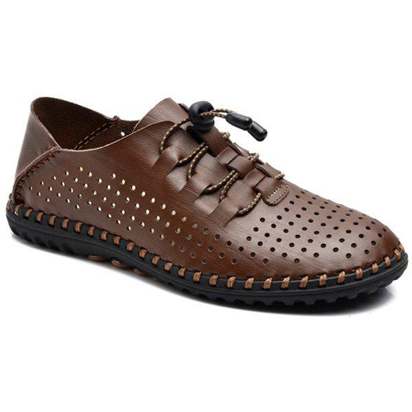 Fashionable Breathable and Lace-Up Design Men's Casual Shoes - DEEP BROWN 42
