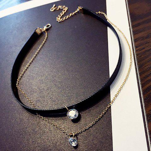 Layered Rhinestone Choker Necklace triple layered rhinestone choker necklace