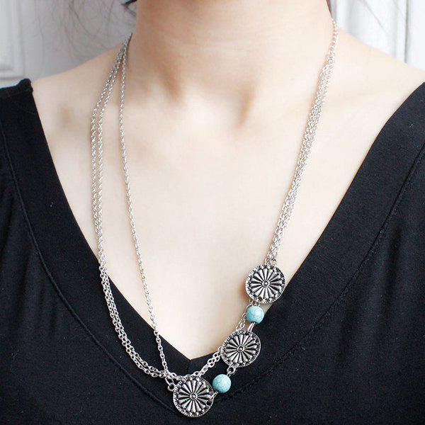 Ethnic Multilayer Faux Turquoise Round Necklace For Women - SILVER