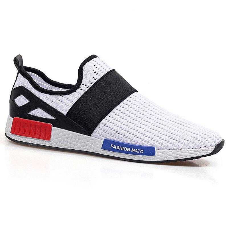 Trendy Elastic Band and Hit Color Design Men's Casual Shoes - WHITE/BLACK 40