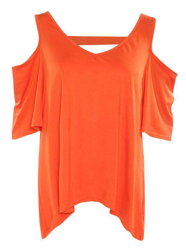Stylish Women's V Neck Cut Out Pure Color T-Shirt - DARKSALMON L