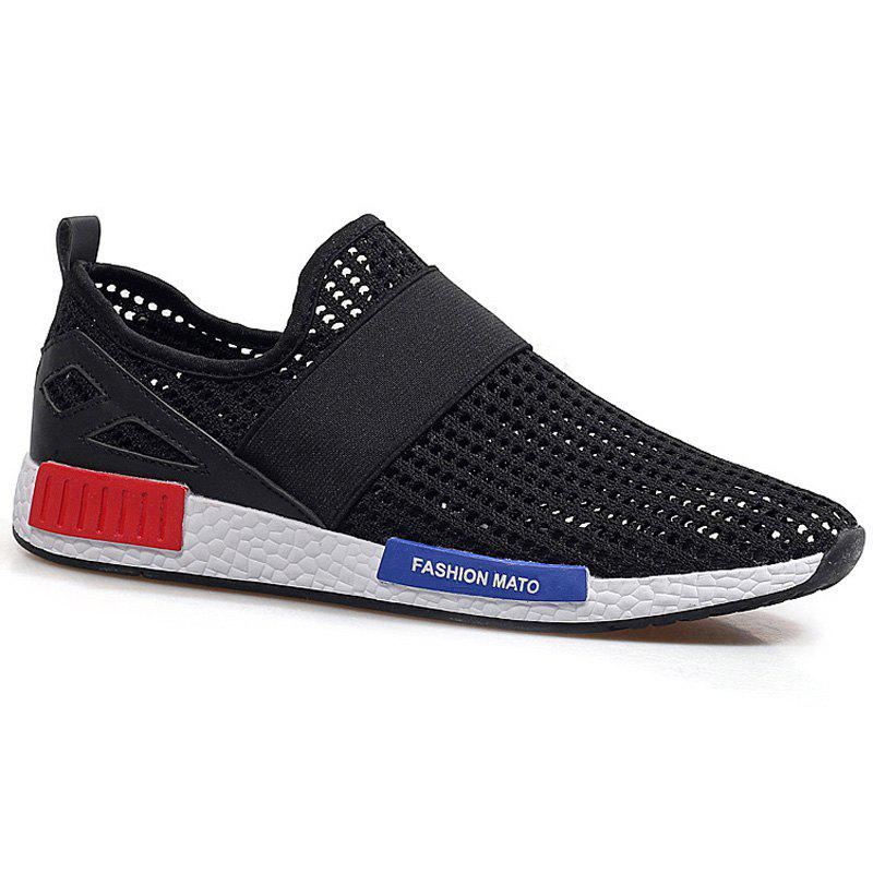 Stylish Breathable and Elastic Band Design Men's Casual Shoes - BLACK 41