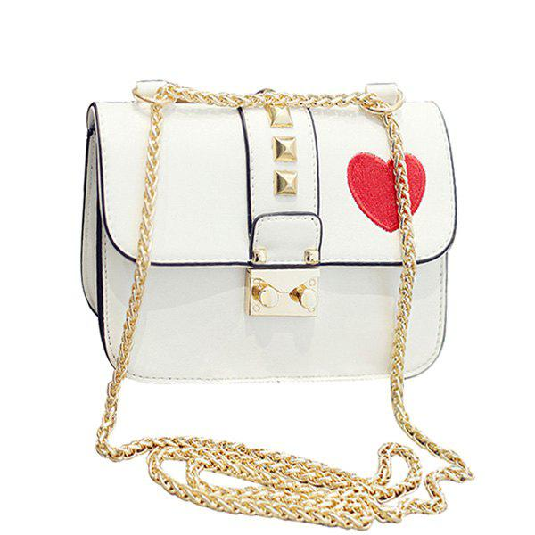 Casual Chain and Hasp Design Women's Crossbody Bag - WHITE