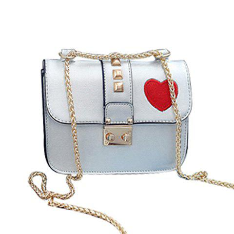 Casual Chain and Hasp Design Women's Crossbody Bag - SILVER GRAY