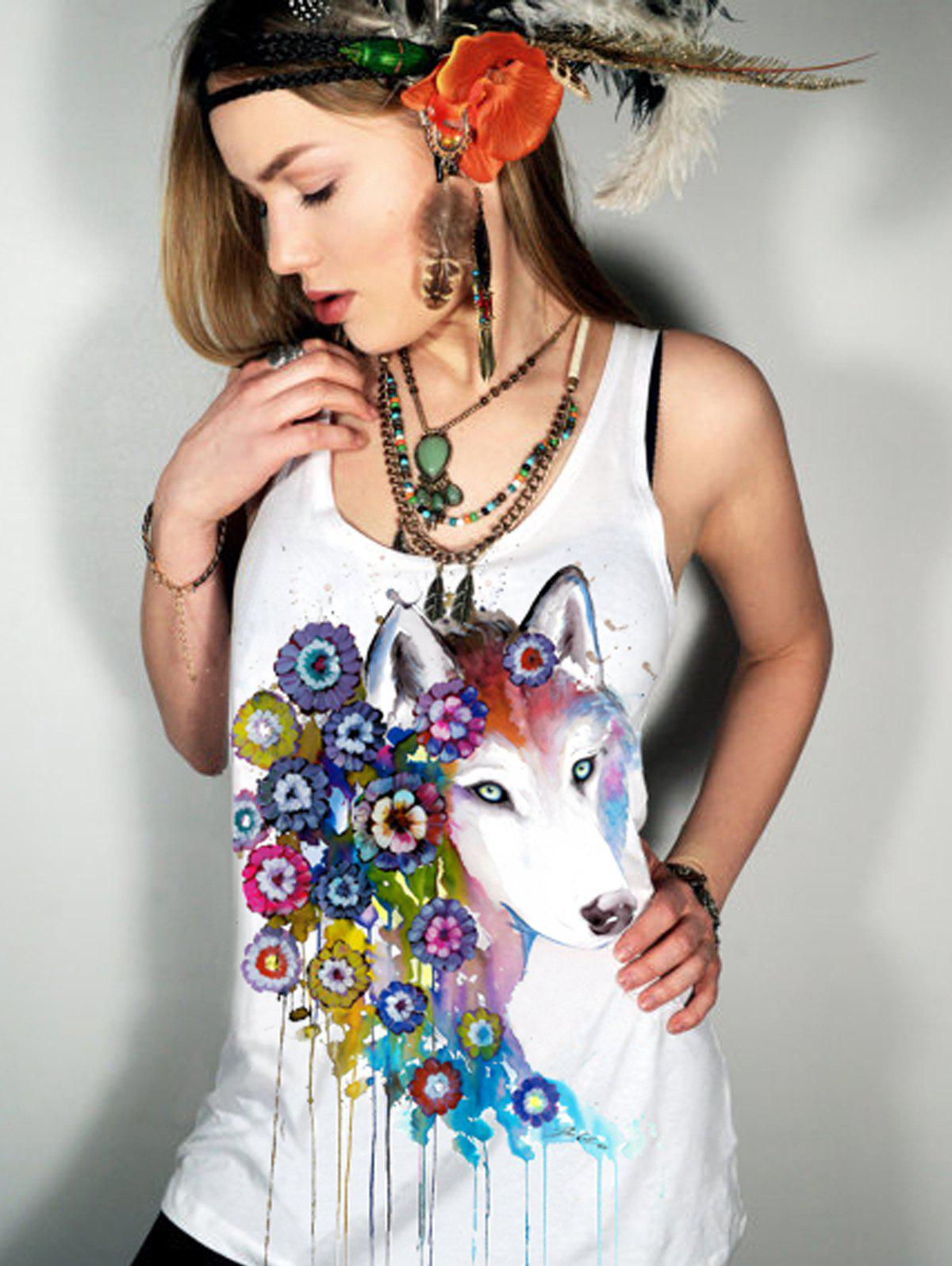 Casual Women's Scoop Neck Floral Fox Pattern Tank Top - WHITE S