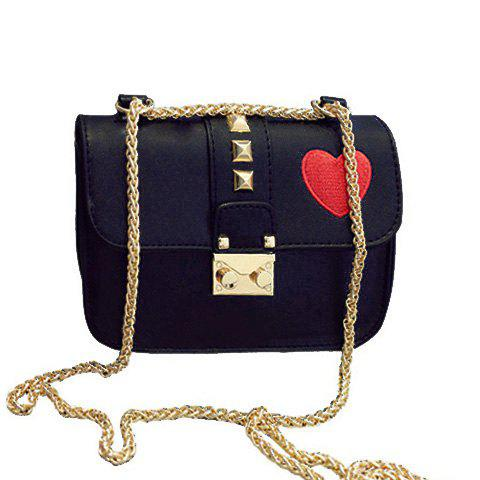 Casual Chain and Hasp Design Women's Crossbody Bag - BLACK