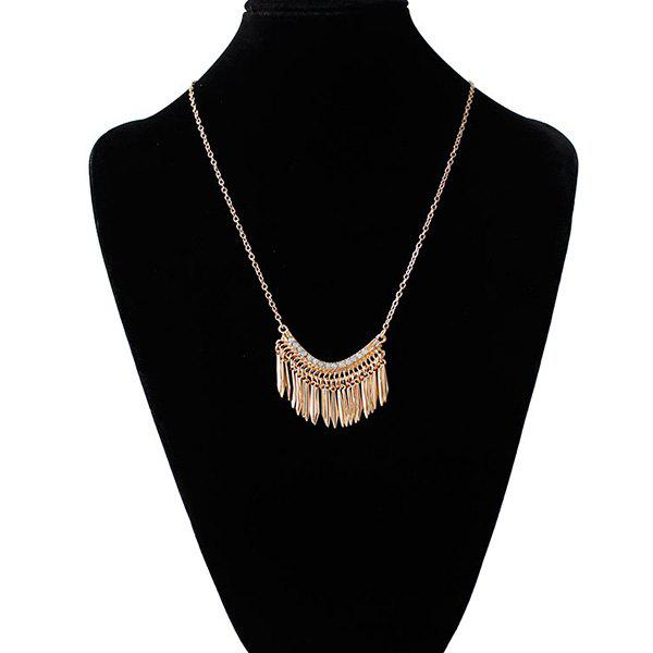 Alloy Rhinestone Fringed Pendant Necklace - GOLDEN