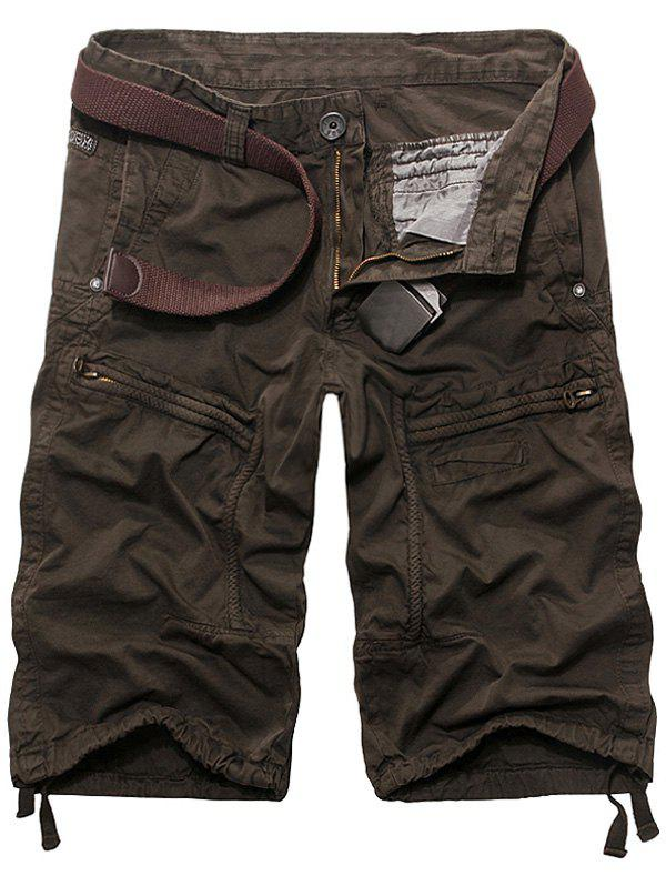 Men's Casual Solid Color Cargo Shorts - COFFEE 29