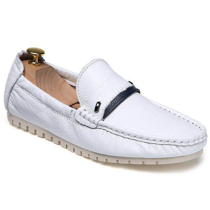 Stylish Hit Color and PU Leather Design Men's Casual Shoes - WHITE 39