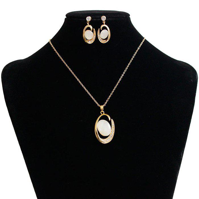 A Suit of Faux Stone Rhinestone Oval Necklace and Earrings - GOLDEN