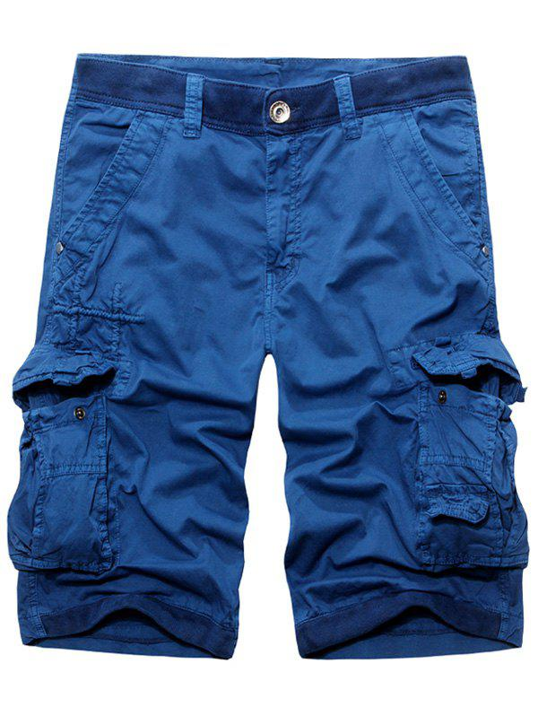 Men's Fashion Solid Color Cargo Shorts - BLUE 34
