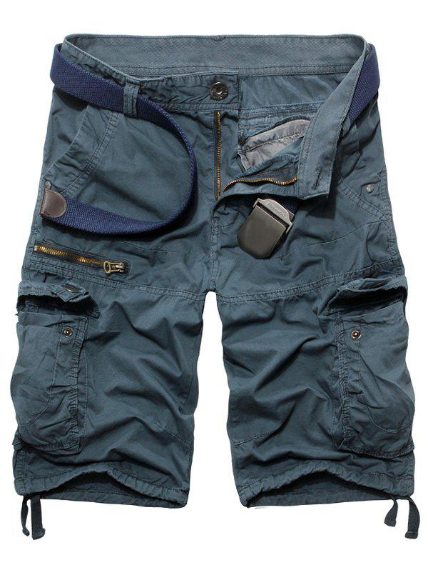 Men's Fashion Zip Design Solid Color Cargo Shorts