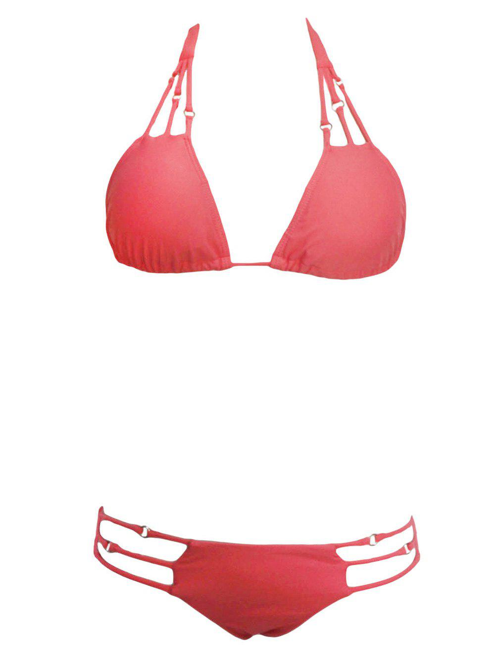 Alluring Women's Spaghetti Straps Hollow Out Bikini Set - WATERMELON RED M