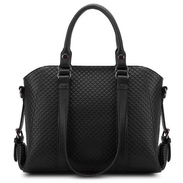 Stylish Checked and PU Leather Design Women's Tote Bag - BLACK