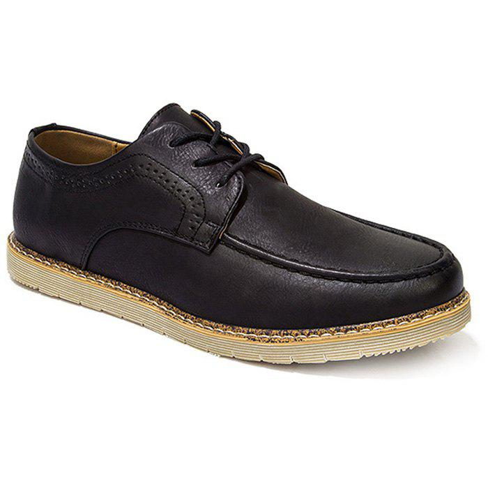 Fashionable Lace-Up and Engraving Design Men's Casual Shoes - BLACK 43