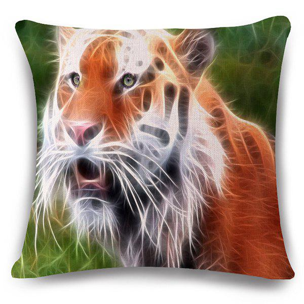 Stylish 3D Tiger Pattern Square Shape Flax Pillowcase (Without Pillow Inner) - COLORMIX