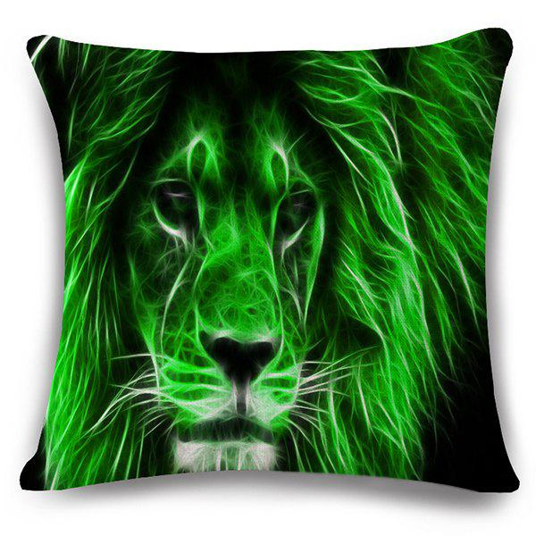 Stylish 3D Lion Pattern Square Shape Flax Pillowcase (Without Pillow Inner) - NEON GREEN