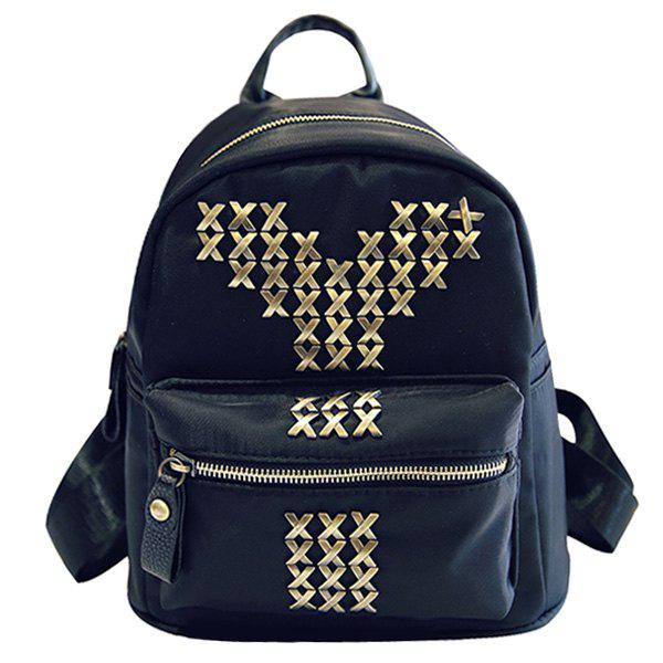 Preppy Style Black Color and Metal Design Women's Satchel - BLACK